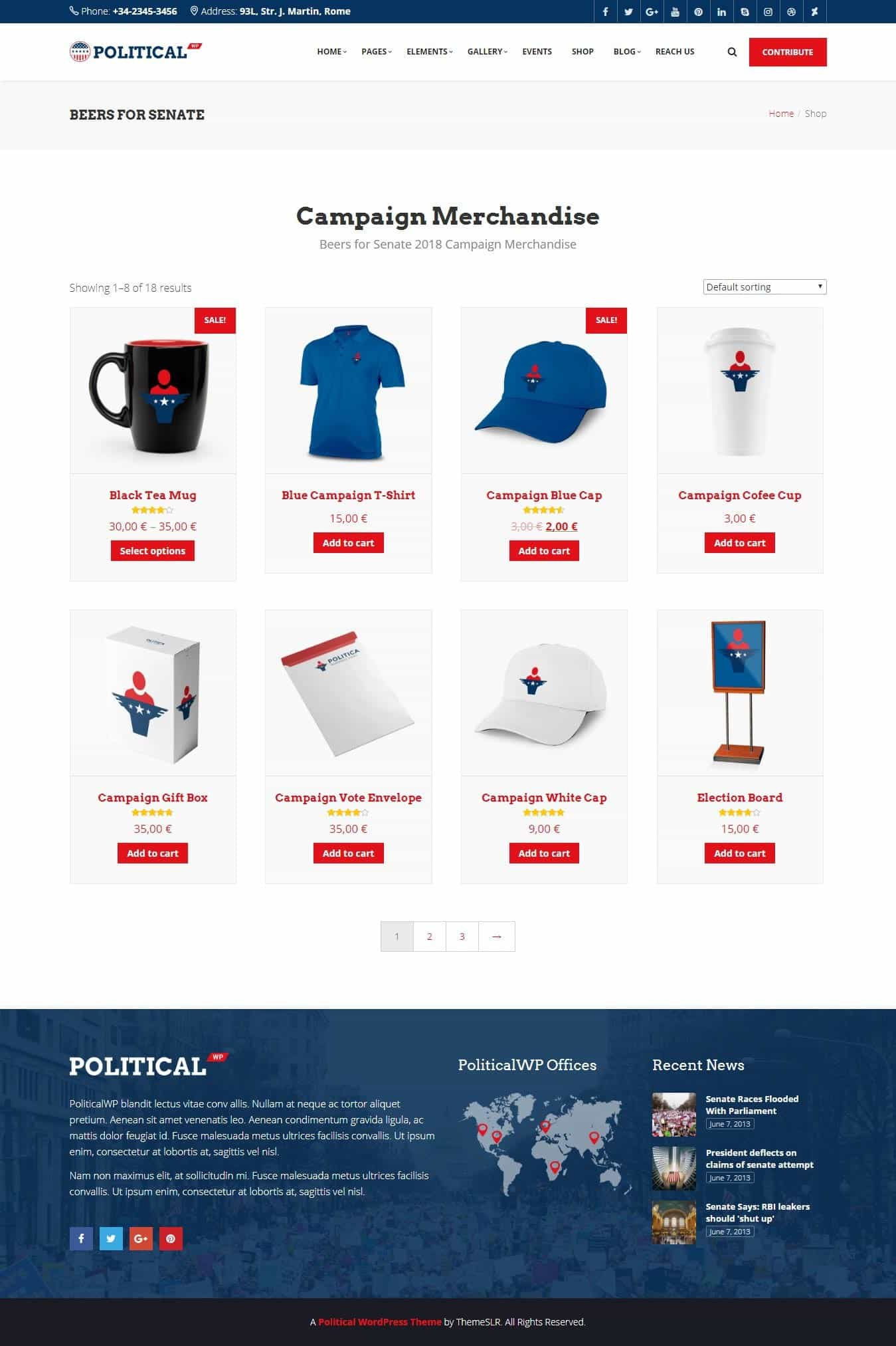 Election Campaign Store Web Design